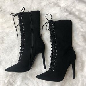 Lace up black booties